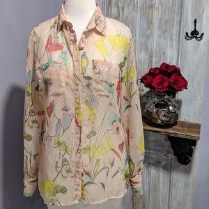 H&M sheer floral/bird print button-up shirt